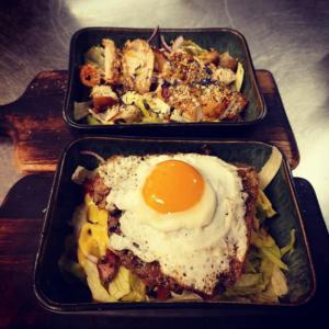 Kjúklingasalat og Burger salat